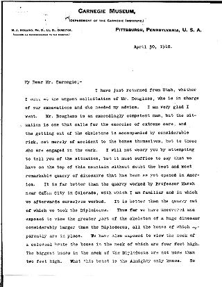 [W.J. Holland to Andrew Carnegie, April 30, 1910]
