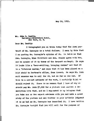 [Samuel H. Church to John W. Beatty, May 19, 1911]
