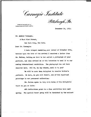 (John W. Beatty to Andrew Carnegie, December 16, 1911)