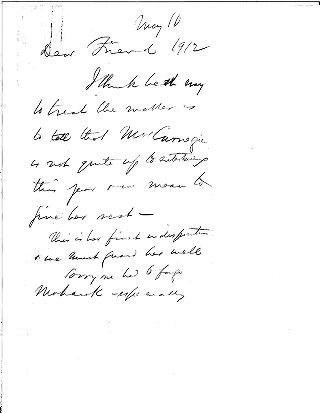 [Andrew Carnegie to Samuel Harden Church, May 10, 1912]