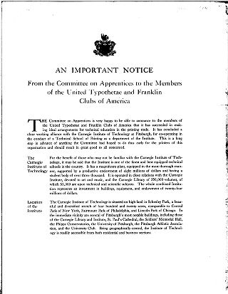 An important notice from the Committee on Apprentices to the members of the United Typothetae and...
