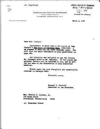 [Raymond E. Parshall to Mrs. Charles T. Siebert, Jr., March 6, 1967]