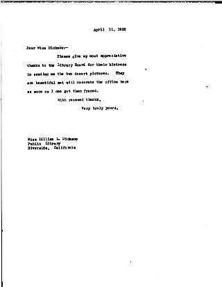 [[James Bertram] to Lillian L. Dickson, April 11, 1922]