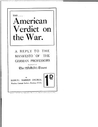 The American verdict on the war: a reply to the manifesto of the German professors