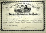 Common Schools of Pennsylvania Teacher's Professional Certificate Awarded to Mrs. W. S. Shields...