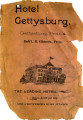 Advertisement for the Hotel Gettysburg, as well as an Advertisment for J.I. Mumper, Battlefield...