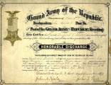 Certificate of Honorable Discharge from the Grand Army of the Republic for Winfield S. Shields,...
