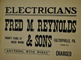 Electricians Fred M. Reynolds and Son Advertisement