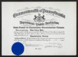 Registration certificate of Alma Lorene Hahn, awarded by the Department of Public Instruction