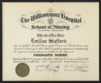 Diploma of Emiline Stafford, awarded by the Williamsport Hospital School of Nursing on September...