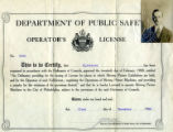 Department of Public Safety Operator's License for Portus Acheson