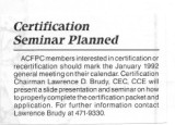 ACFPC Certification Seminar planned