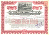 United States Steel Corporation stock certificate issued to Andrew Carnegie