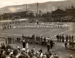 Williamsport High School Band at athletic field following Armistice Day Parade, November 1944