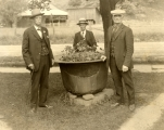 The Rogers of Forksville (from left): John W., Fred M., and William H. Rogers with dye kettle