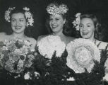 Three Flower Show hostesses model three debutante bouquets, 1947 Philadelphia Flower Show